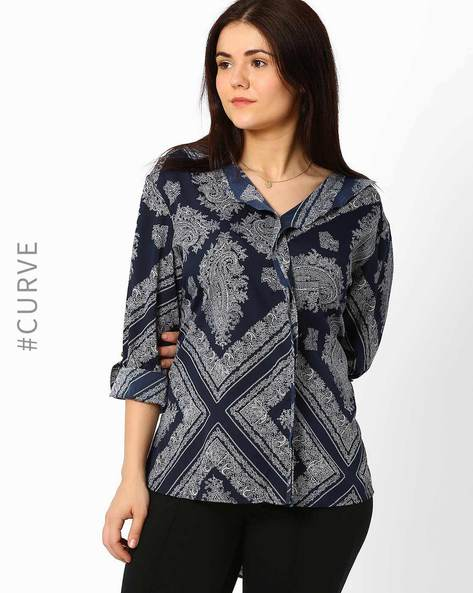 High-Low Printed Top By Oxolloxo ( Blue )