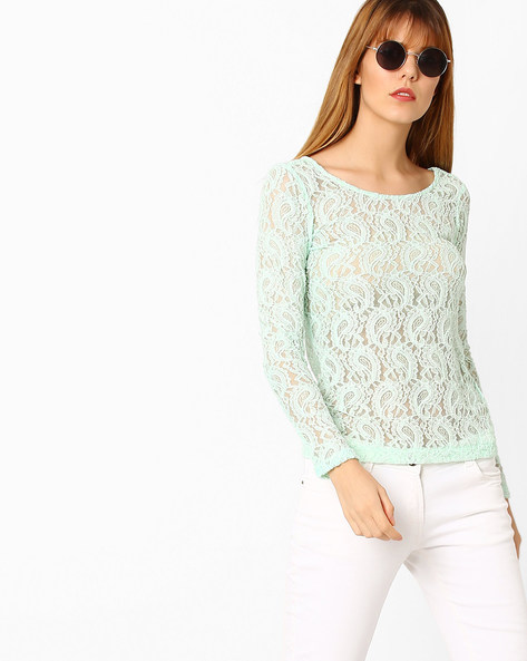 Paisley Lace Top By CODE By Lifestyle ( Aqua )
