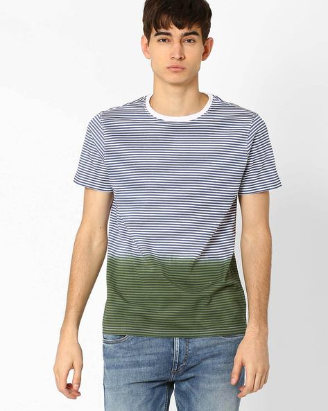 Striped T-shirt With Dip-Dye Effect By AJIO ( Olive )