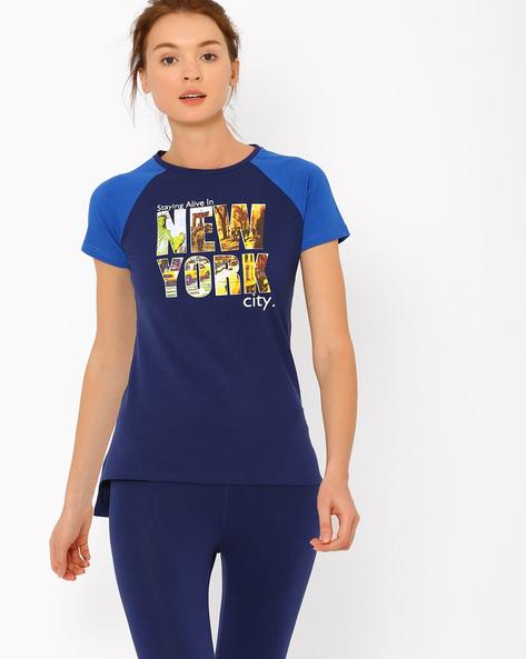 Printed Raglan T-shirt By AJIO ( Navyblue )