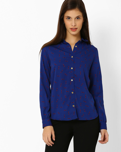 Printed Shirt By Annabelle By Pantaloons ( Blue )