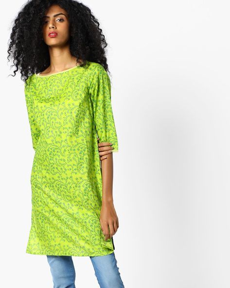 Floral Print Long Tunic Top By AJIO ( Lime )