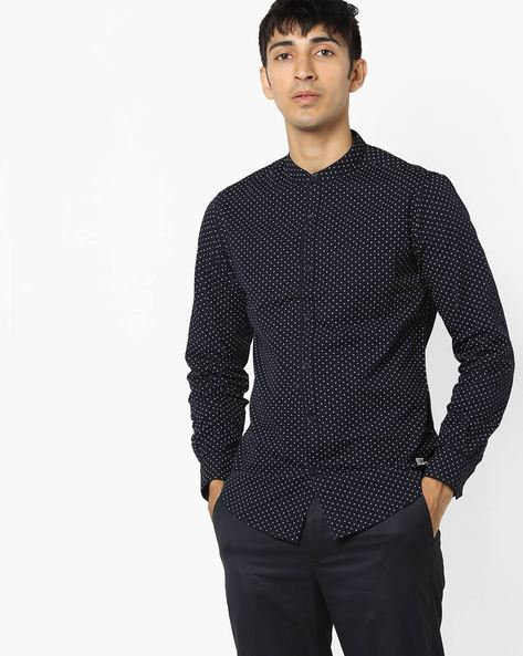 Micro Print Shirt With Band Collar By SPYKAR ( Navy )