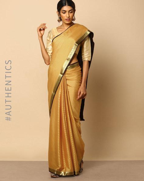 Pure Mysore Silk Crepe Embossed Saree With Zari Border By Indie Picks ( Yellow )