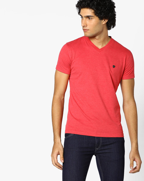 V-neck Slim Fit T-shirt By JOHN PLAYERS ( Red )