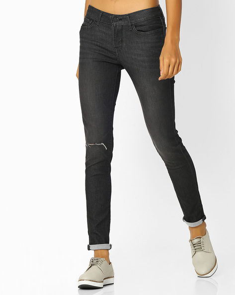 Skinny Fit Distressed Jeans By LEVIS ( Black ) - 460058448003