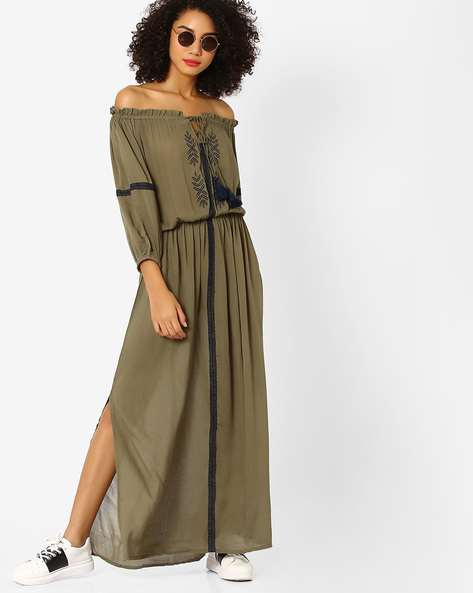 Off-Shoulder Maxi Dress With Embroidery By Rena Love ( Olive )
