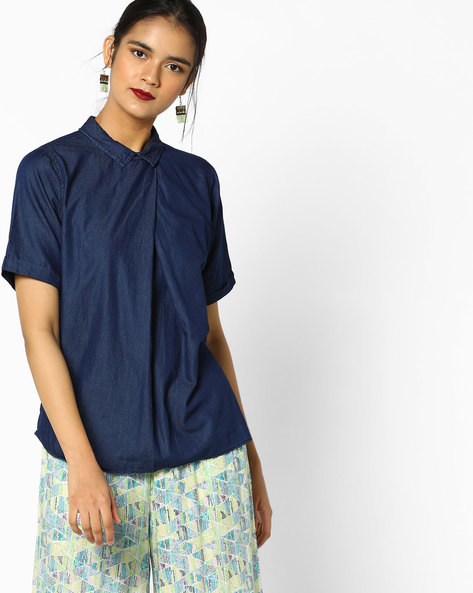 Classic Top With Collar By Project Eve WW Denim ( Indigo )