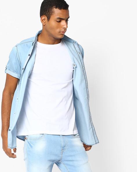 Slim Fit Denim Shirt By SPYKAR ( Lightblue )