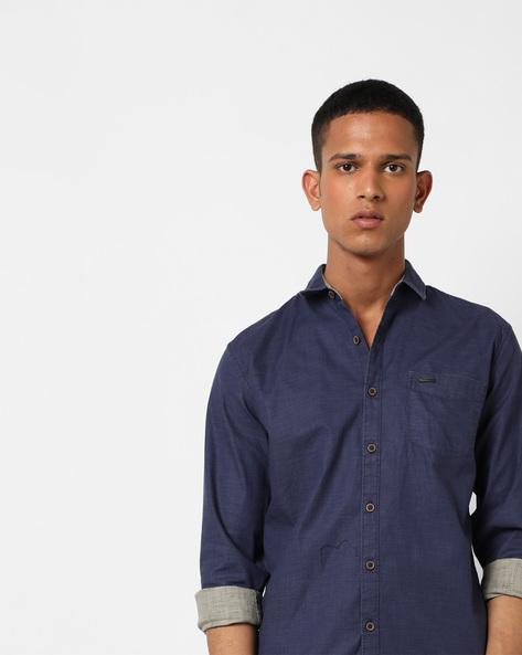 Rafa Cotton Shirt With Spread Collar By WRANGLER ( Navy )