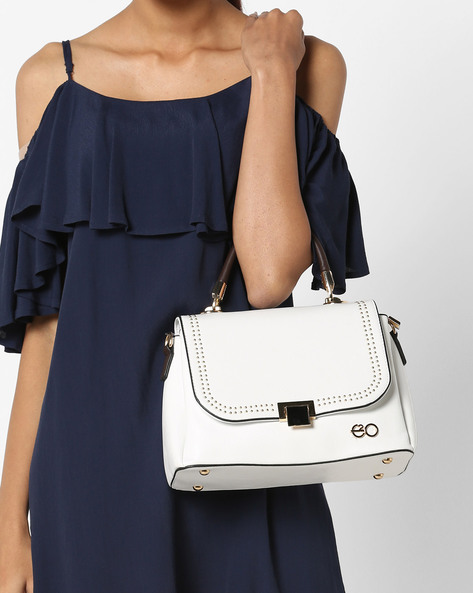 Patent Leather Baguette With Rivets By E2O ( White )