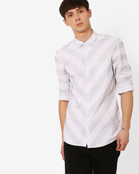 Printed Slim Fit Shirt By Lee ( White )