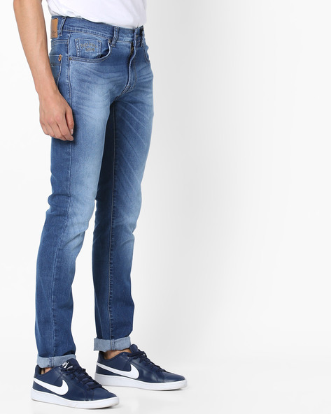 Lightly Washed Slim Fit Jeans By Pepe Jeans ( Sblue )