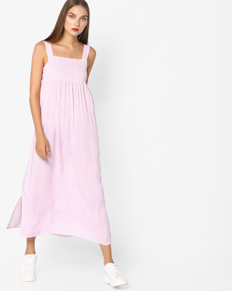 Printed Midi Night Dress With Pleats By Mystere Paris ( Lightpink )