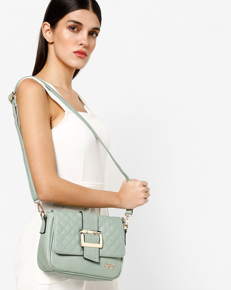 Textured Sling Bag With Detachable Strap By E2O ( Green ) - 460222174002