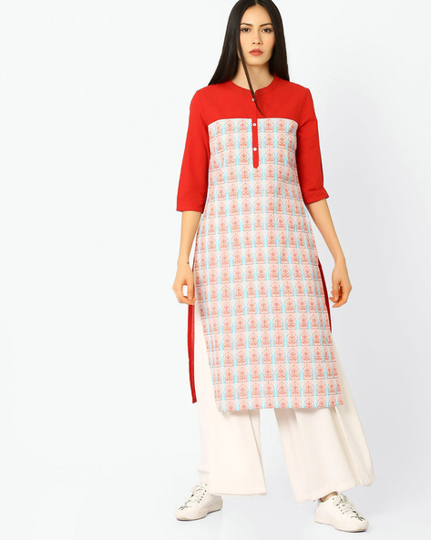 Straight Kurta With Embroidery By AURELIA ( Red )