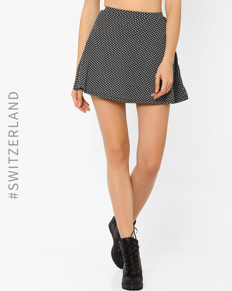 Printed Skater Skirt By TALLY WEiJL ( Black )