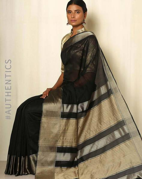 Handwoven Maheshwari Cotton Silk Saree By GoCoop ( Black )