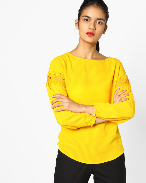 Textured Top With Lace Inserts By AJIO ( Yellow )