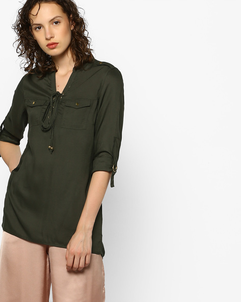 High-Low Top With Mandarin Collar By DNMX ( Olive )