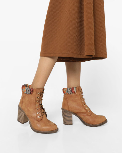 Lace-Up Heeled Boots By AJIO ( Beige )