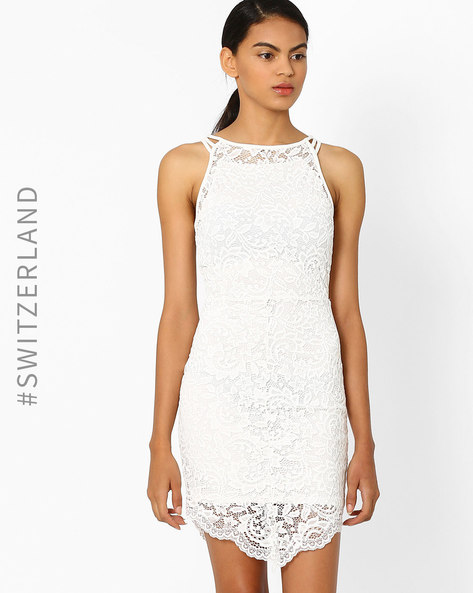 Bodycon Dress With Lace Overlay By TALLY WEiJL ( Offwhite )