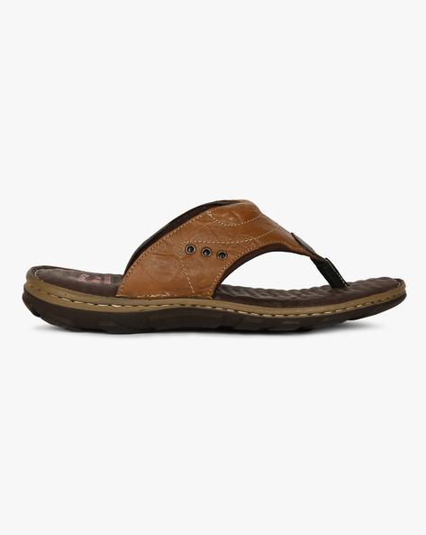 Genuine Leather Flip-Flops By Lee Cooper ( Tan )
