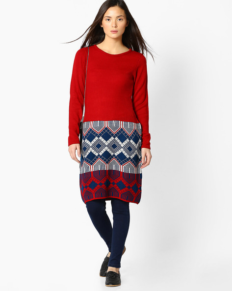Knitted Tunic With Geometric Pattern By Akkriti By Pantaloons ( Red )