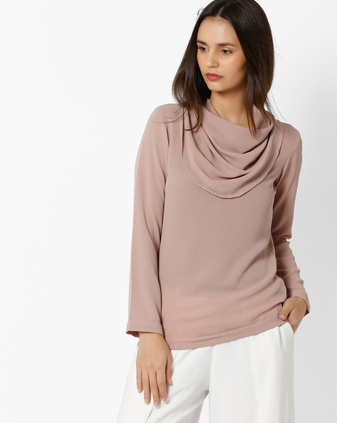 Cowl-Neck Top With Full Sleeves By And ( Beige )
