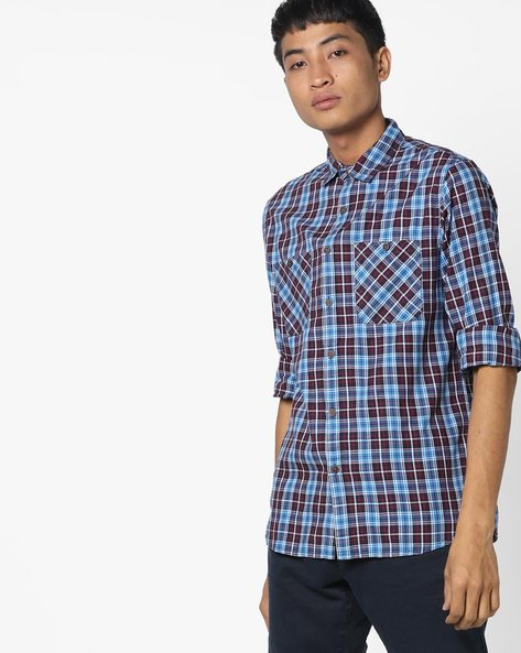 Checked Shirt With Patch Pockets By AJIO ( Blue )