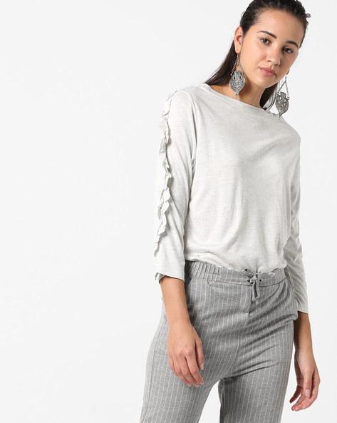 Heathered T-shirt With Ruffled Panels By AJIO ( Ecru )