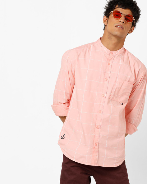 Checked Shirt With Band Collar By AJIO ( Pink )
