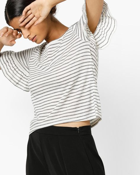 Striped T-shirt With Ruffled Sleeves By Only ( White )