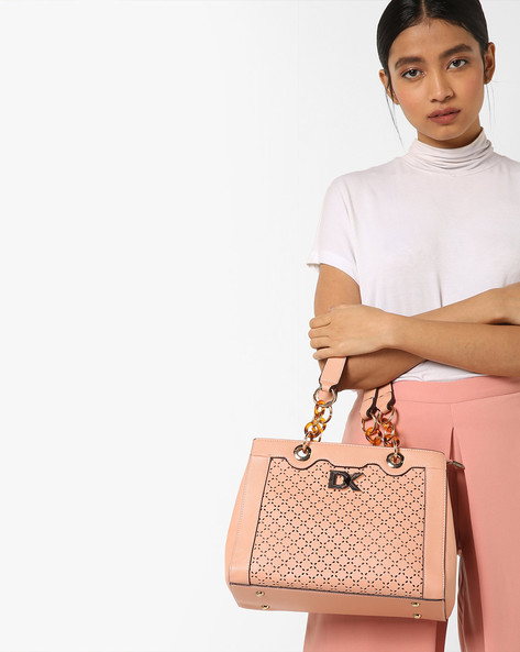 Satchel Bag With Detachable Sling By Diana Korr ( Peach )