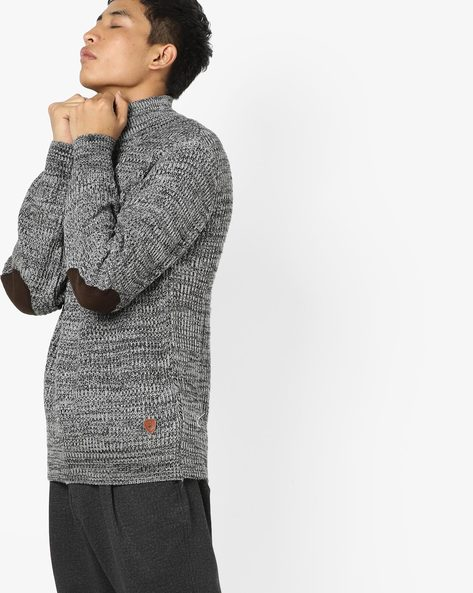 High-Neck Pullover With Elbow Patches By NETPLAY ( Greymelange )
