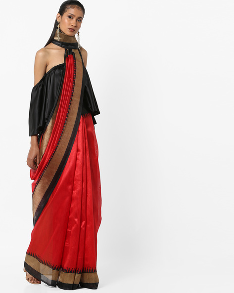 Textured Saree With Contrast Border By Florence ( Red )