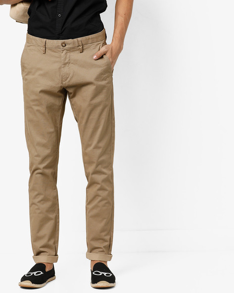 Printed Flat-Front Trousers By US POLO ( Khaki )