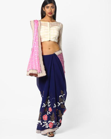 Embroidered Half & Half Saree By CHHABRA 555 ( Pink )