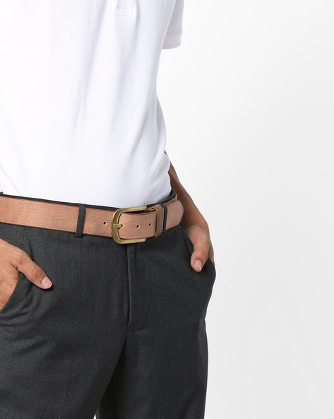 Genuine Leather Belt With Nickle Buckle Belt By AJIO ( Tan )