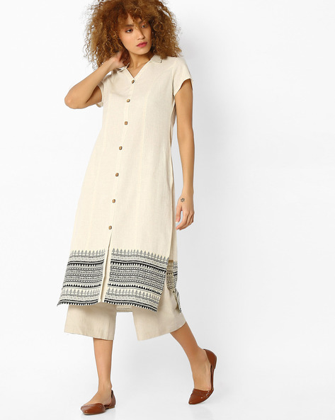 Printed Kurta With Contrast Hem By Avaasa Ariah ( Offwhite )