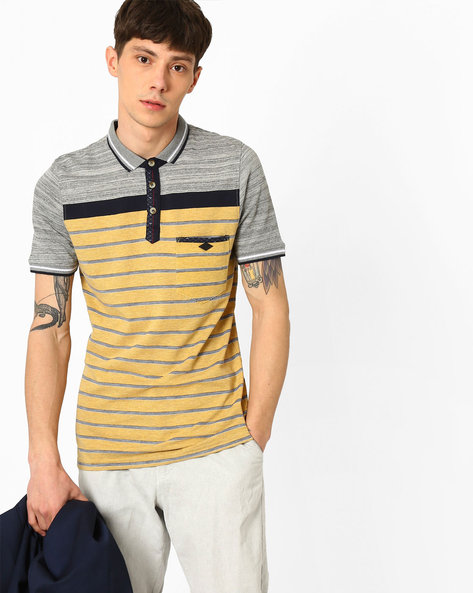 Striped Pique Knit Polo T-shirt By Fort Collins ( Grey )