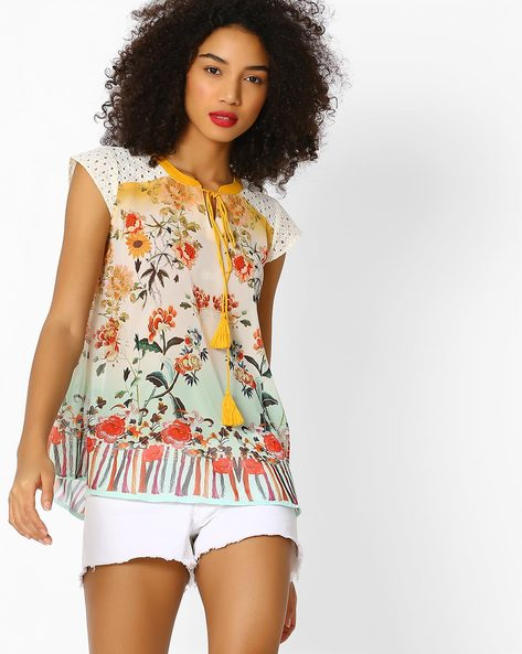 Floral Print Top With Cutout Yoke By FUSION BEATS ( Yellow )