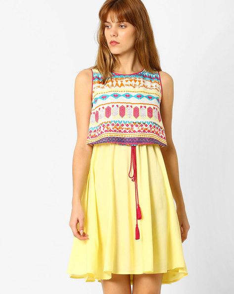Layered Fit-&-Flare Dress By AJIO ( Yellow )