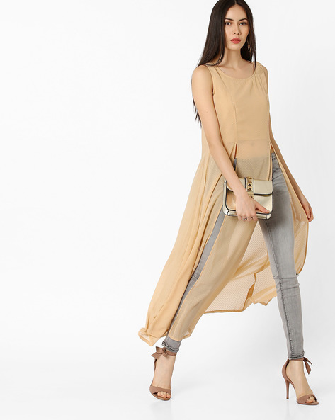 Maxi Top With Slits By COLOUR ME ( Beige )