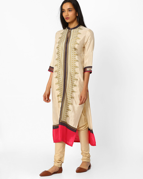 Straight Kurta With Printed Panel By W ( Beige )