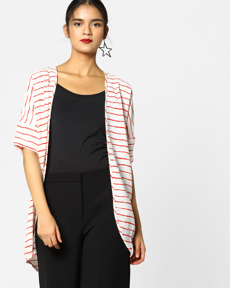 Striped Shrug With Drop Shoulders By Project Eve WW Casual ( Red )