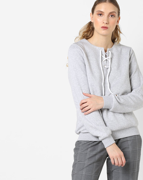Crew-Neck Sweatshirt With Front Tie-Up By Femella ( Lightgrey )
