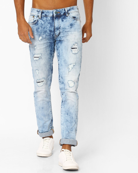 Acid-Washed Slim Fit Distressed Jeans By Jack & Jones ( Lightblue )