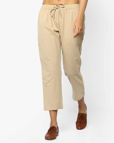Cropped Pants With Drawstring Waist By PE IW Casual ( Beige )