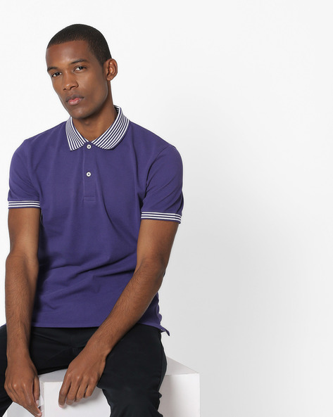 Polo T-shirt With Striped Collar By UNITED COLORS OF BENETTON ( Darkblue )